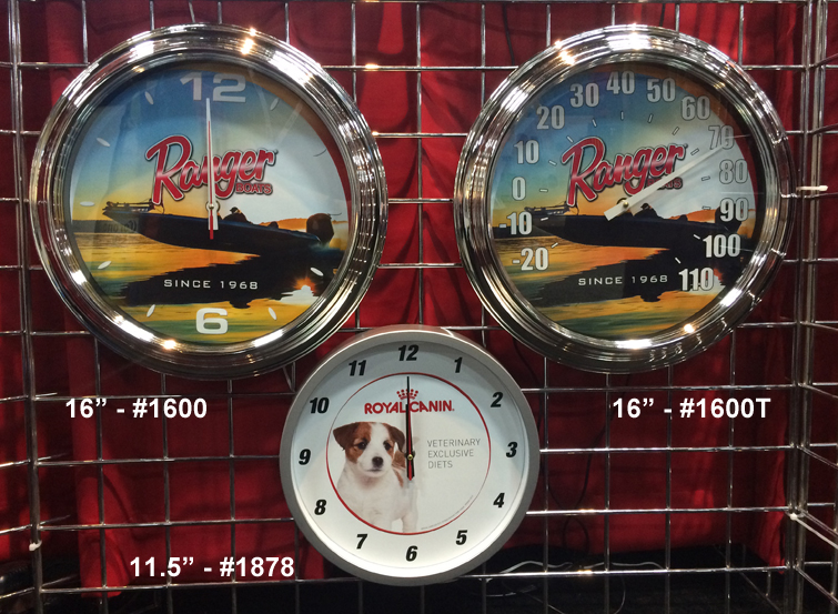 16 inch clock, 16 inch thermometer and 11.5 inch clock. We sell clocks and thermometers.