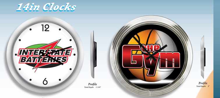 "14"" Promotional clocks with your logo or custom printed artwork. Order personalized 10"" wall clocks for your company promotion or giveaway."