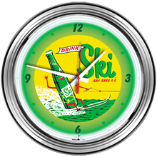 "1625 - 16"" neon wall clock with chrome steel case."
