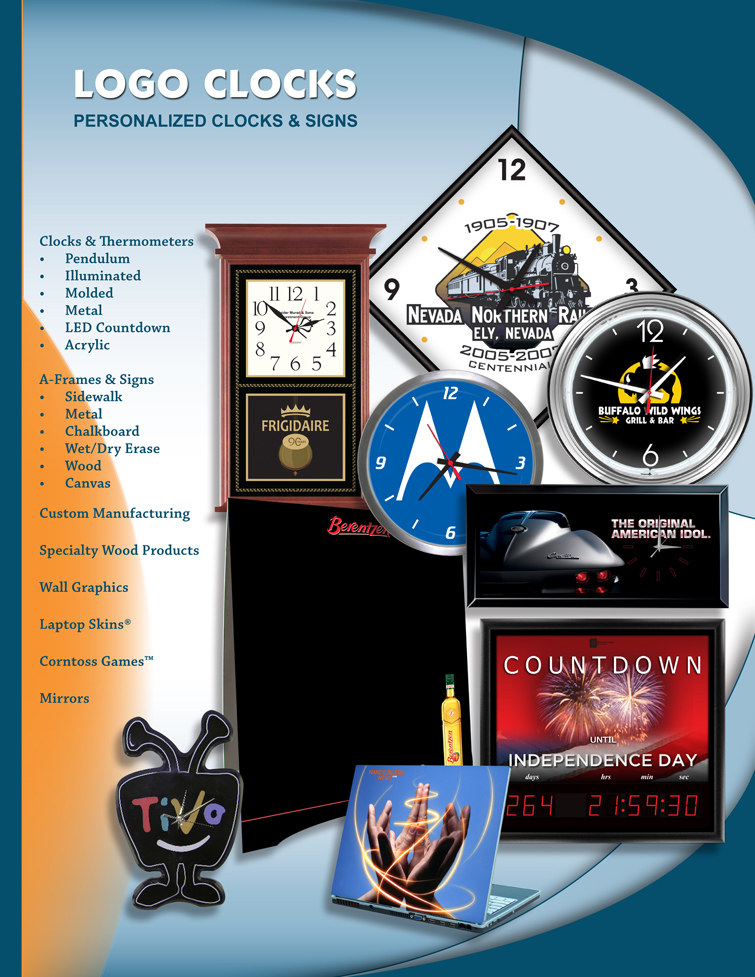 Personalized clocks with your logo. Promotional clocks for sale. Custom signs and thermometers.
