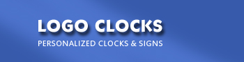 Custom printed logo clocks featuring your logo or customized design. Personalized clocks with your company logo.